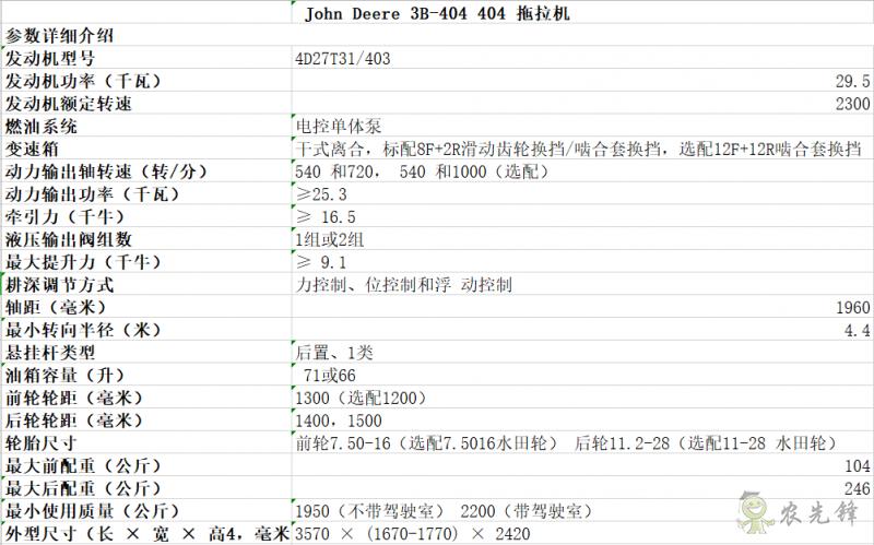 3B-404拖拉机详细参数 智能化农机设备_约翰迪尔