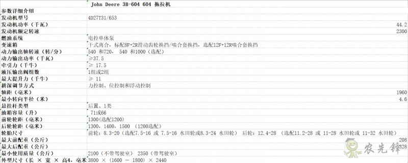 3B-604拖拉机详细参数 智能化农机设备_约翰迪尔