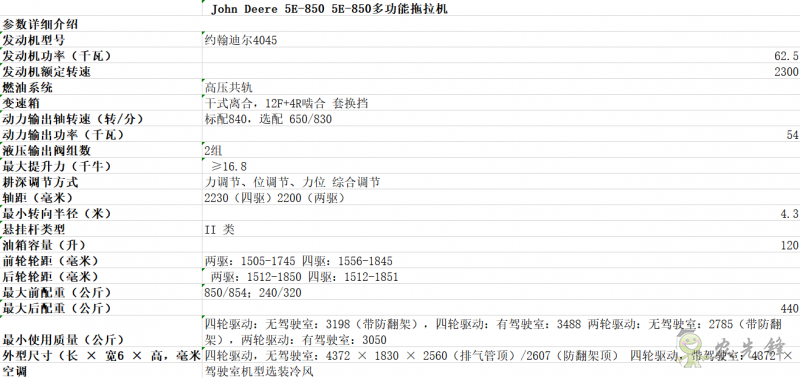 5E-850拖拉机详细参数 智能化农机设备_约翰迪尔