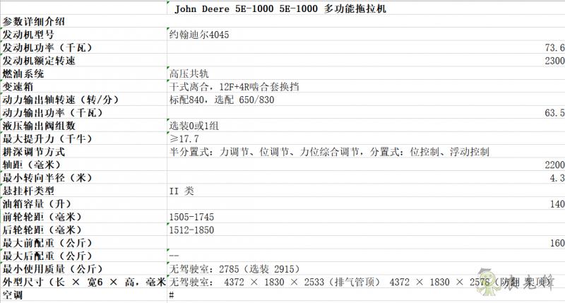 5E-1000拖拉机详细参数 智能化农机设备_约翰迪尔